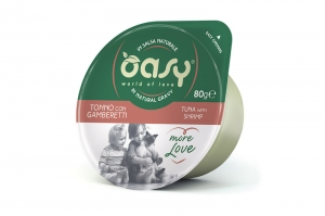 OASY MORE LOVE GREEN CUP CAT TUŃCZYK Z KREWETKAMI 80g