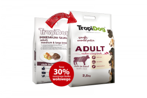 TROPIDOG PREMIUM DOG ADULT MEDIUM & LARGE BREEDS BEEF & RICE 12kg