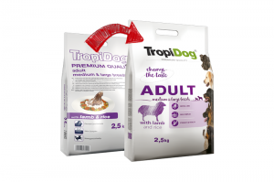 TROPIDOG PREMIUM DOG ADULT MEDIUM & LARGE BREEDS LAMB & RICE 2x12kg